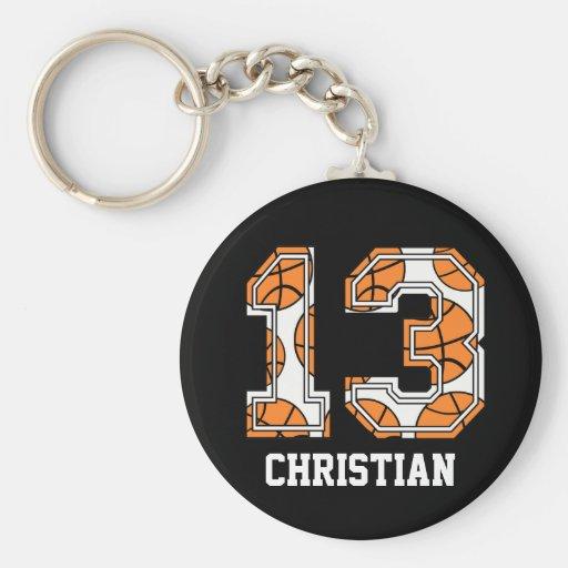 Baloncesto personalizado número 13 llaveros