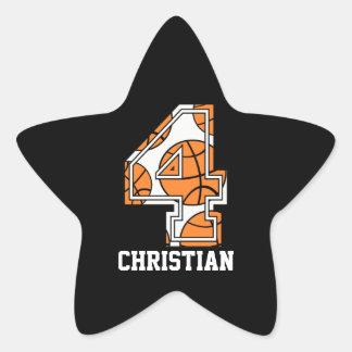 Baloncesto personalizado número 4 pegatina en forma de estrella