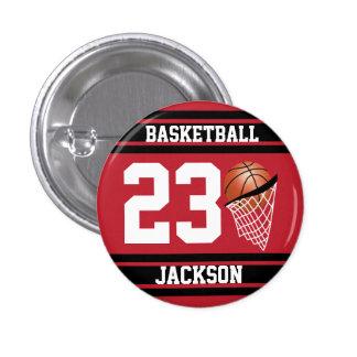 Baloncesto personalizado rojo oscuro y negro chapa redonda 2,5 cm