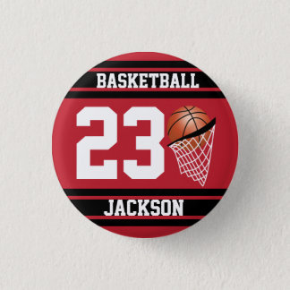 Baloncesto personalizado rojo oscuro y negro chapa redonda de 2,5 cm