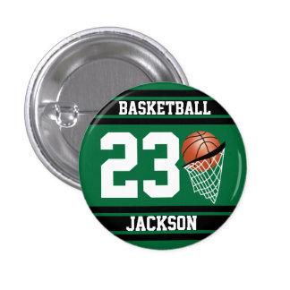 Baloncesto personalizado verde oscuro y negro chapa redonda 2,5 cm