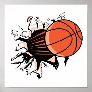 baloncesto que rasga a través póster