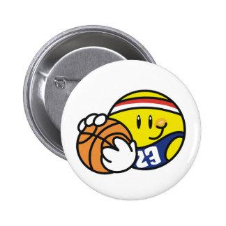 Baloncesto sonriente chapa redonda 5 cm