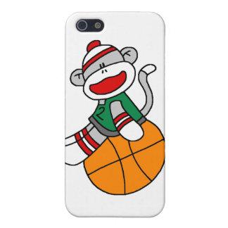 Baloncesto y regalos del mono del calcetín iPhone 5 protectores