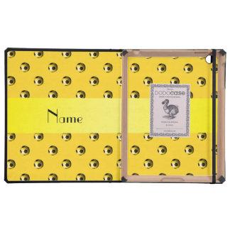 Balones de fútbol amarillos conocidos personalizad iPad coberturas