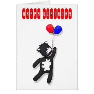 baloons de la tarjeta de cumpleaños del gato de la