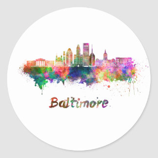 Baltimore V2 skyline in watercolor Pegatina Redonda