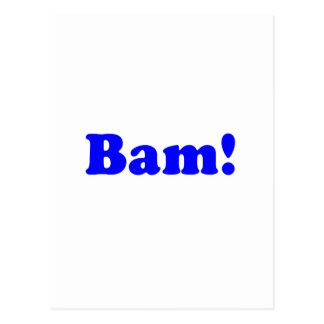 ¡Bam! negro y azul Postal