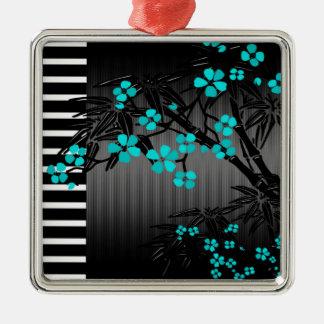 Bambú azul del asiático del negro del flor del adorno cuadrado plateado