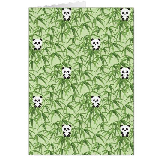 Bambú con las pandas tarjeta de felicitación