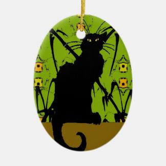 bambú del gato negro adorno ovalado de cerámica