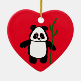 Bambú el ornamento del corazón de la panda