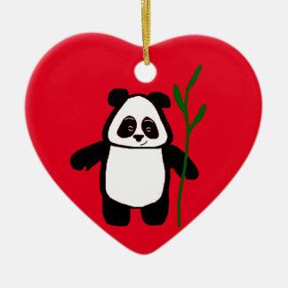 Bambú el ornamento del corazón de la panda adorno navideño de cerámica en forma de corazón