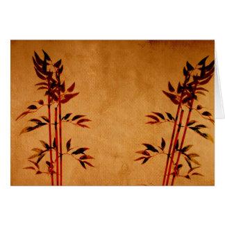 Bambú en el pergamino tarjeta de felicitación