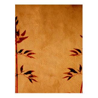 Bambú en el pergamino postal