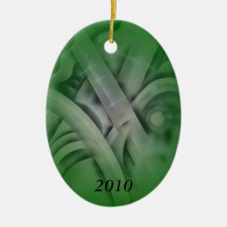 Bambú en verde adorno ovalado de cerámica