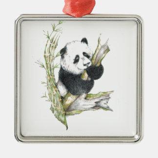 Bambú lindo del dibujo de lápiz del oso de panda adorno cuadrado plateado