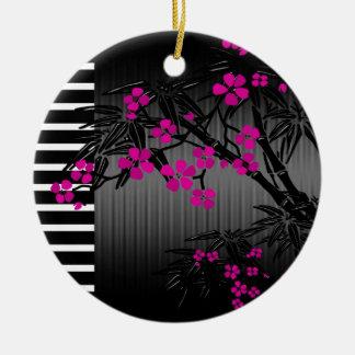Bambú rosado elegante del asiático del negro del adorno redondo de cerámica