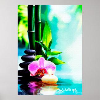 Bambú y orquídea póster