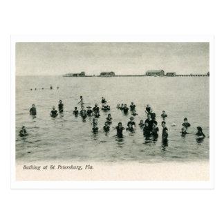 Bañándose en St Petersburg, vintage 1906 de FL Postal