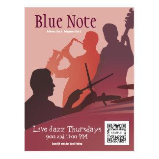 Banda de jazz del acontecimiento de la plantilla d tarjeta postal