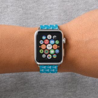 Banda de reloj blanca azul de la manzana del