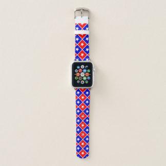 Banda de reloj blanca roja patriótica de Apple de