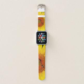 Banda de reloj de las abejas del girasol