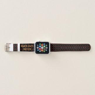 Banda de reloj negra de Apple de la materia de las