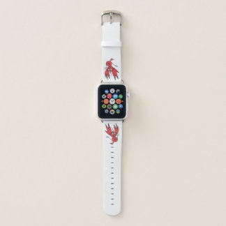 Banda de reloj roja de Apple del pájaro de