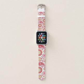 Banda de reloj rosada y roja de Paisley Apple