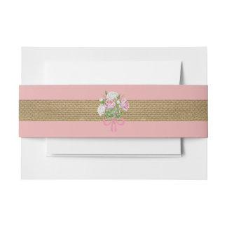 Banda floral rosada del Belly de la arpillera para Cintas Para Invitaciones