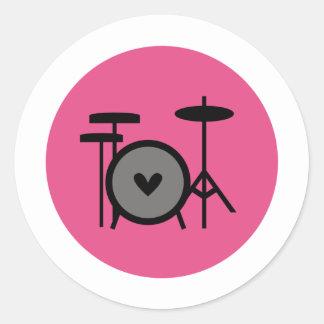 banda rosada (tambor) pegatina redonda