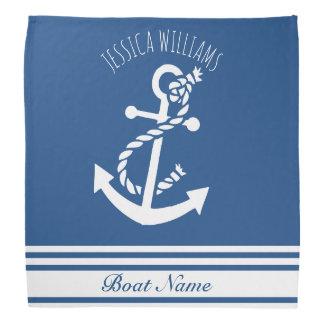 Bandana Ancla náutica del barco de las rayas blancas y