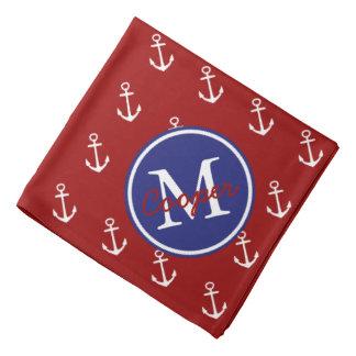 Bandana Blanco rojo náutico con el monograma azul del