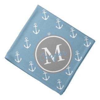 Bandana Carolina azul y monograma gris del ancla de la
