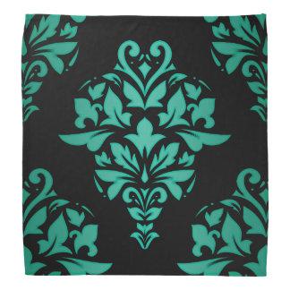 Bandana Damasco clásico verde verde azulado en negro o