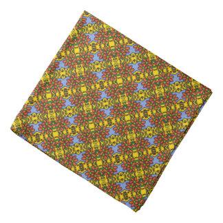 Bandana Estampado de flores azul y amarillo anaranjado