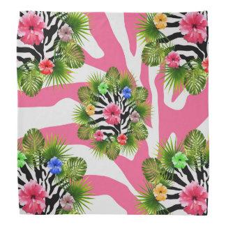 Bandana Hibisco tropical y rayas rosadas exóticas de la