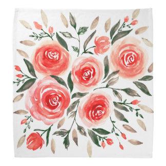 Bandana Ilustracion floral de la acuarela rosada bonita de