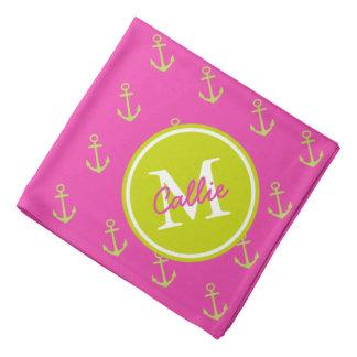 Bandana Monograma de muy buen gusto del ancla del rosa y