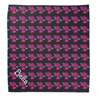 Bandana Plantilla color de rosa del nombre del animal de