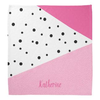 Bandana Puntos negros de cuero rosados geométricos