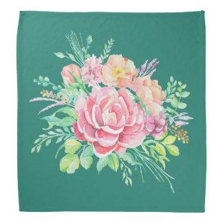Bandana Rosas florales del ramo de la acuarela del vintage