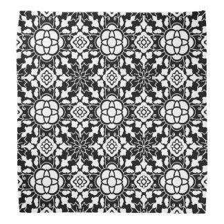 Bandana Teja marroquí floral, blanco y negro