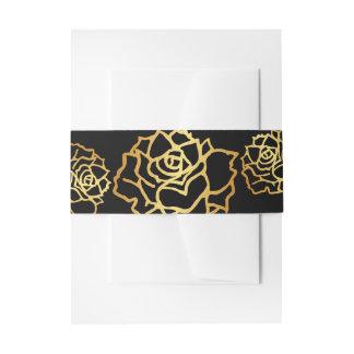 Bandas de oro del Belly de los rosas - negro Cintas Para Invitaciones