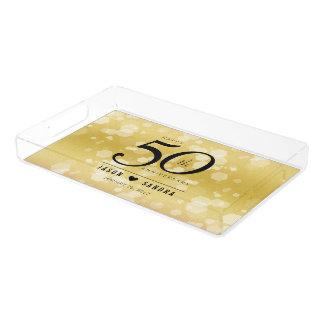 Bandeja Acrílica 50.o aniversario de boda de oro elegante
