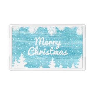 Bandeja Acrílica Acuarela del navidad el | - árboles de pino de la