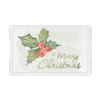 Bandeja Acrílica Acuarela del navidad el | - cita de la tipografía