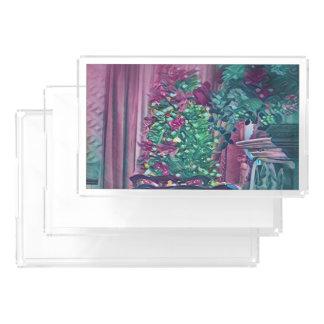 Bandeja Acrílica Árbol de navidad elegante del rosa verde con las